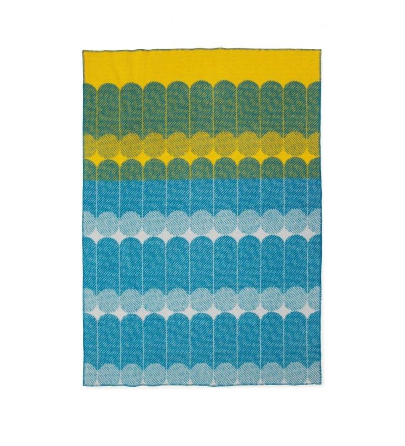 Pled / Narzuta z wełny EKKO Normann Copenhagen - błękitny/żółty