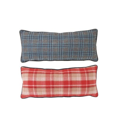 Poduszka podłużna w czerwono-niebieską kratę 25x64cm HK Living