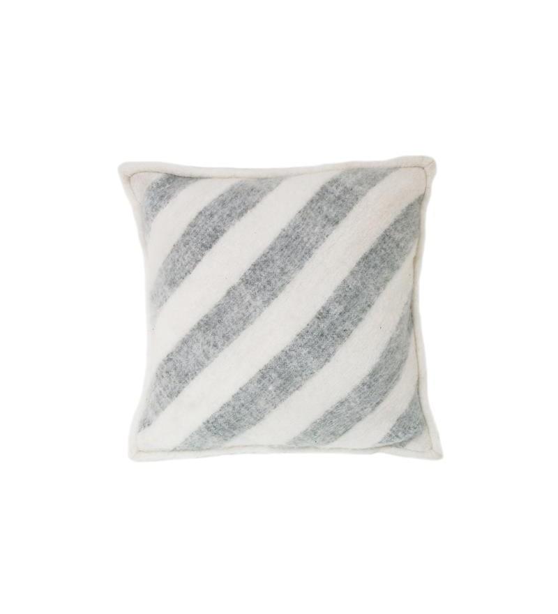 Poduszka wełniana w białe pasy 50x50cm HK Living