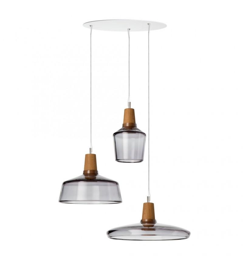 Zestaw 3 lamp INDUSTRIAL z antracytowego szkła