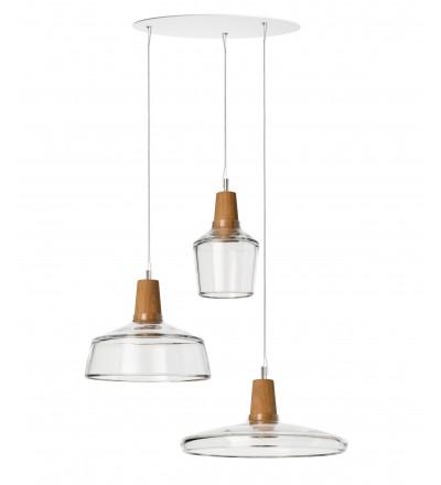 Zestaw 3 lamp INDUSTRIAL z bezbarwnego szkła