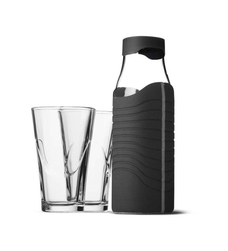 Karafka w pokrowcu czarno-szarym + 2 szklanki Menu