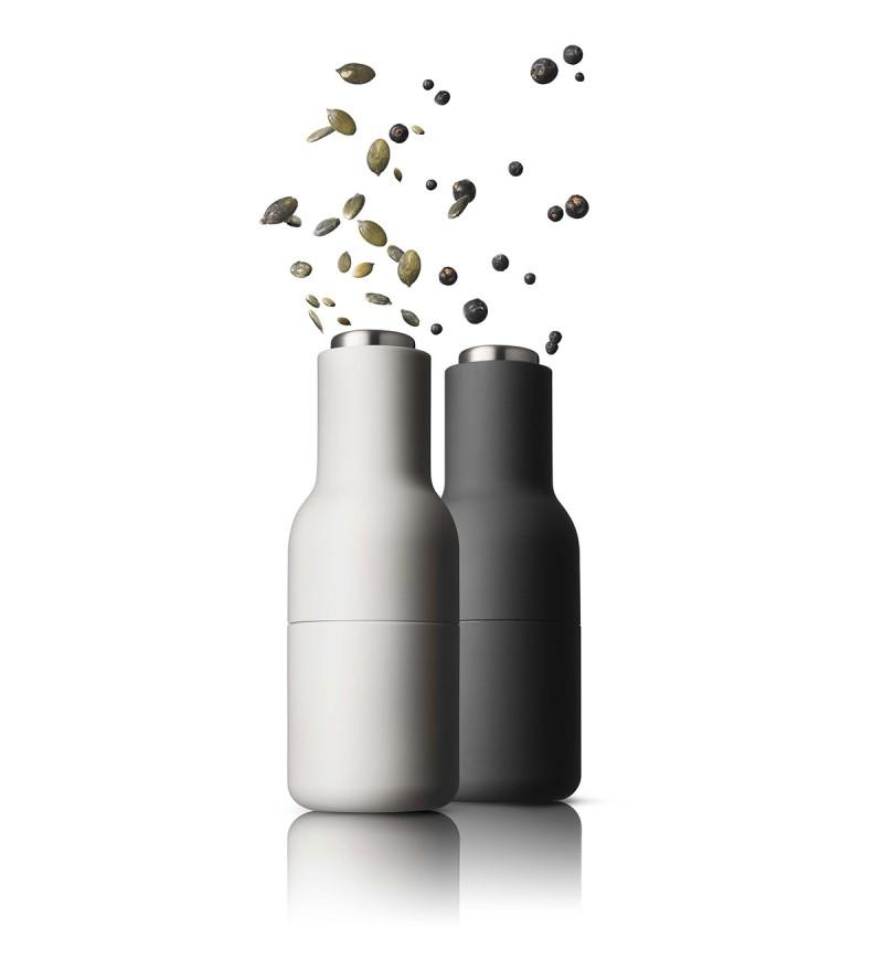 Zestaw małych młynków do soli, pieprzu, przypraw Bottle Grinders Menu - ash / carbon + stal
