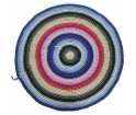Dywan dziergany w tęczowy wzór - średnica 120 cm