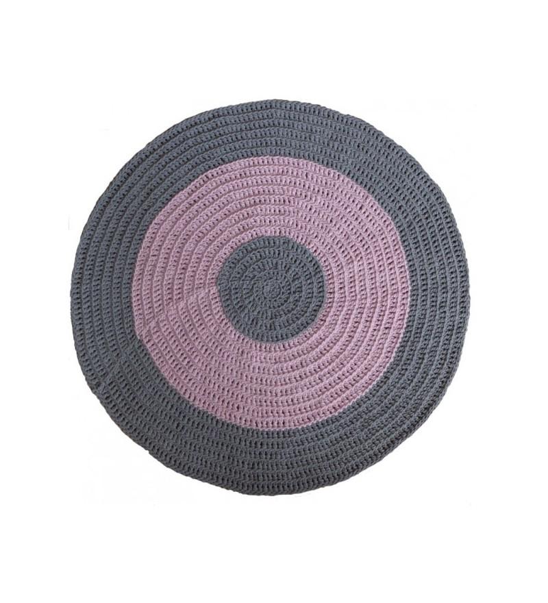 Dywan dziergany szaro-różowy - średnica 130 cm