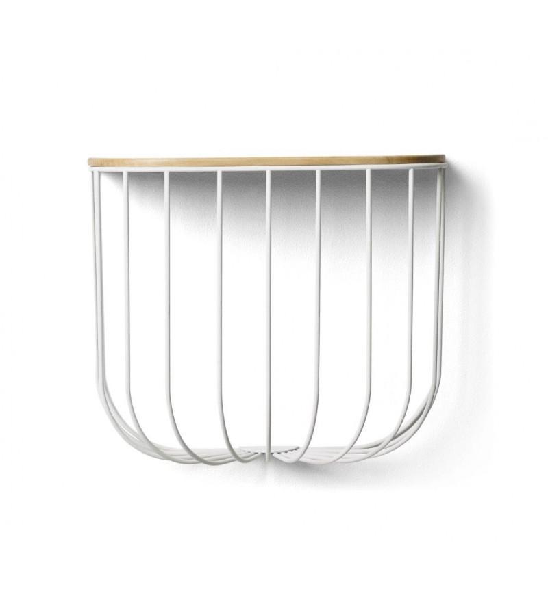 Półka Cage Menu - biała / jesion