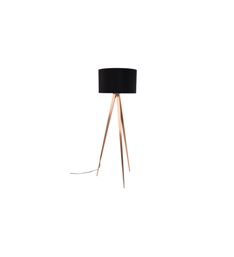 Lampa podłogowa TRIPOD COPPER ZUIVER - czarny abażur