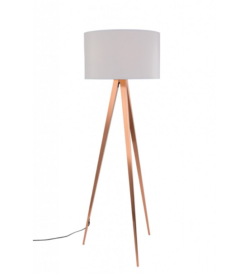 Lampa podłogowa TRIPOD COPPER ZUIVER - biały abażur