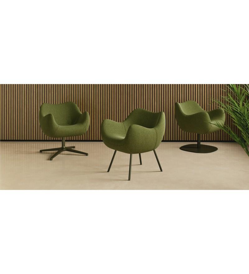 Fotel tapicerowany RM58 Soft R VZÓR - tkanina FAME, podstawa talerzowa