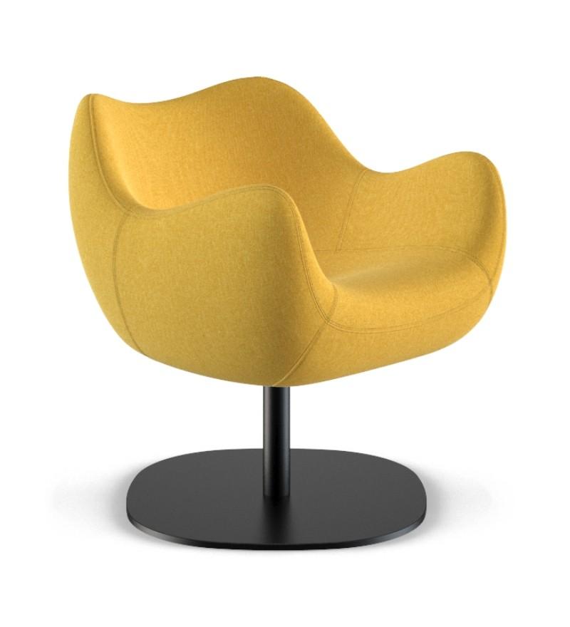 Fotel tapicerowany RM58 Soft R VZÓR - tkanina MEDLEY, podstawa talerzowa