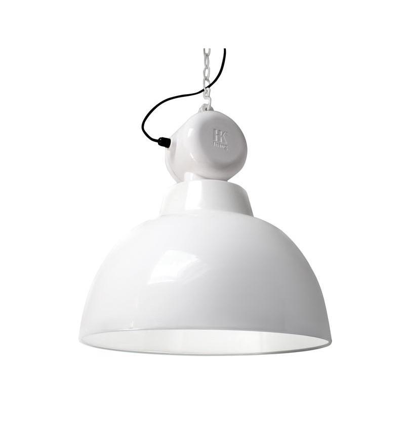 Emaliowana lampa warsztatowa Factory L HK Living - biała