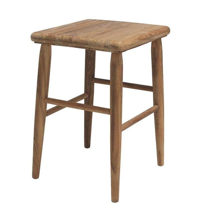 Stołek drewniany teak z odzysku w stylu retro HK Living - naturalny