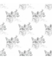 Tapeta FOX LYNX ONWALL - czarno-biała