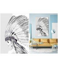 Tapeta Canvas INDIAN GIRL ONWALL - czarno-biała, 70x100cm