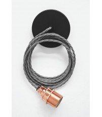 Lampa Nostalgia Lights - miedziana oprawka, szary kabel
