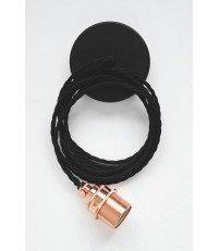 Lampa Nostalgia Lights - miedziana oprawka, czarny kabel