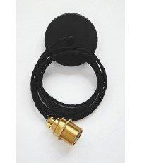 Lampa Nostalgia Lights - mosiężna oprawka, czarny kabel