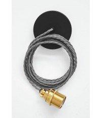 Lampa Nostalgia Lights - mosiężna oprawka, szary kabel