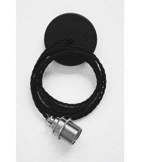 Lampa Nostalgia Lights - chromowana oprawka, czarny kabel