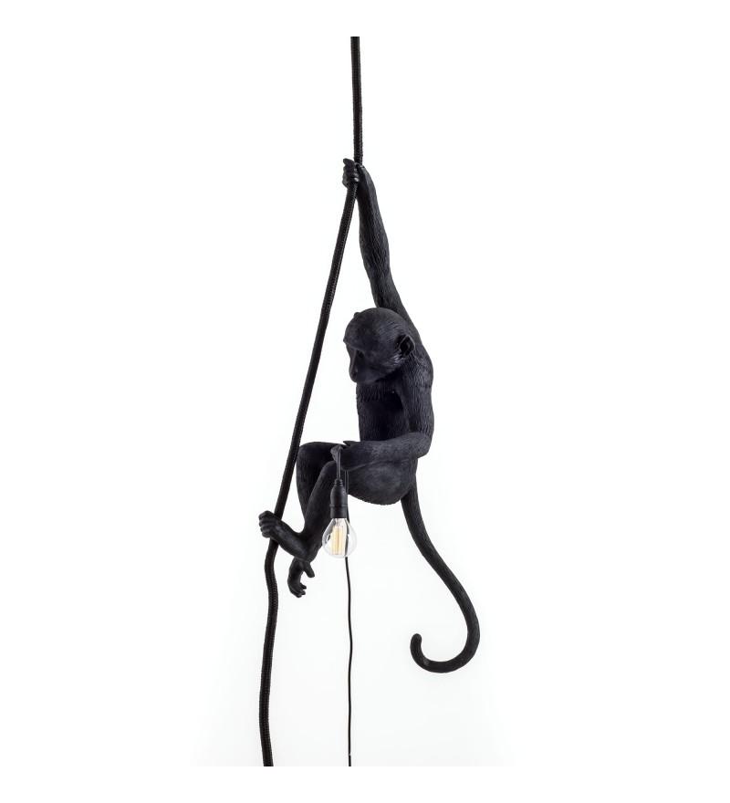 Lampa sufitowa Monkey Seletti - z liną, czarna, na zewnątrz