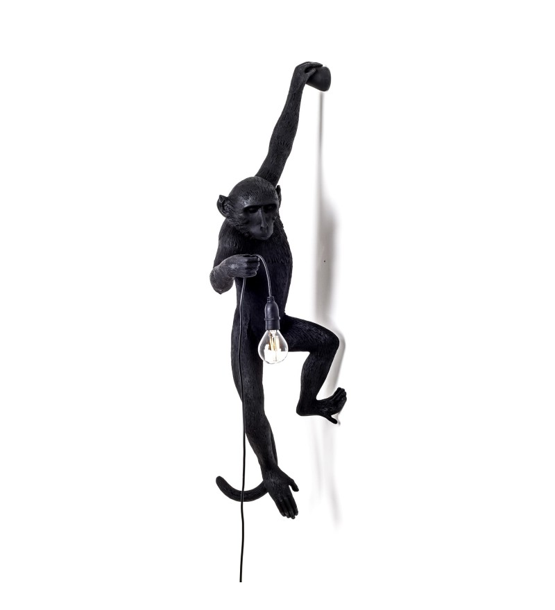 Kinkiet Monkey Seletti - wersja wisząca na lewej rączce, czarna, na zewnątrz