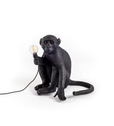 Lampa Monkey Seletti - wersja siedząca, czarna, na zewnątrz