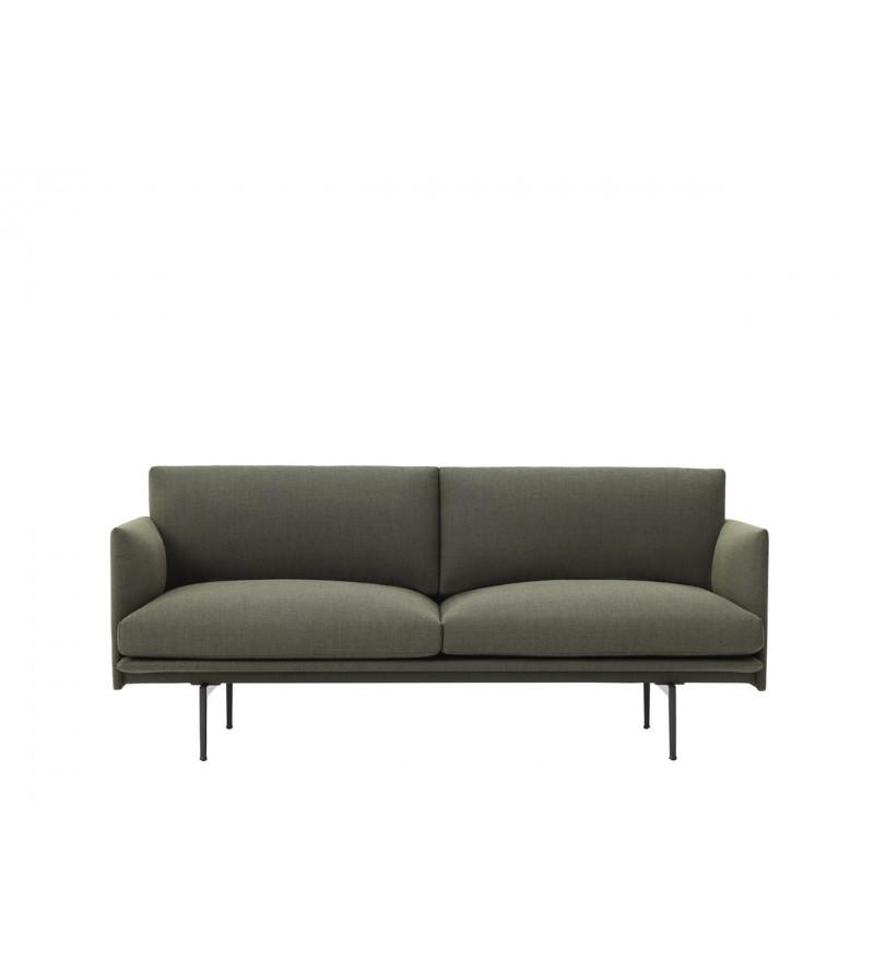 Sofa 2-osobowa OUTLINE MUUTO - czarna podstawa, różne kolory