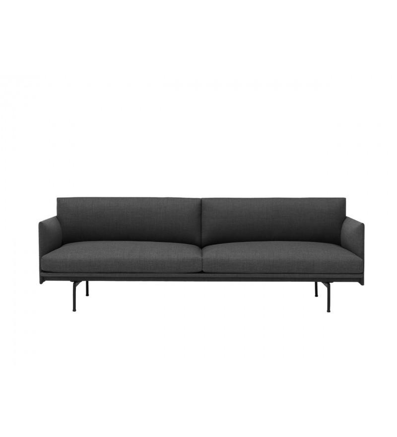 Sofa 3-osobowa OUTLINE MUUTO - czarna podstawa, różne kolory