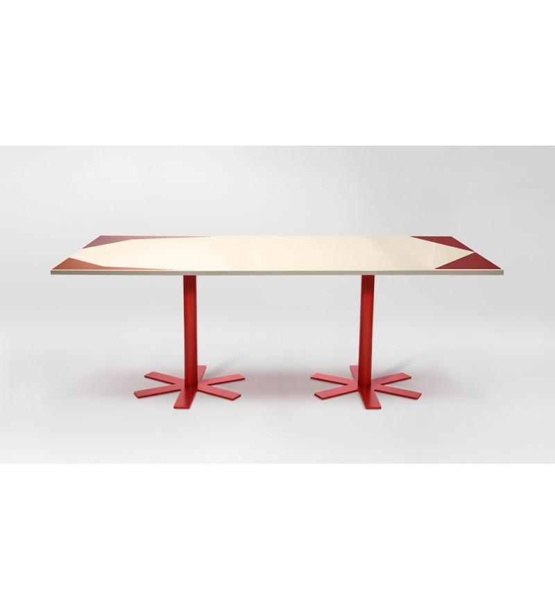 Stół PARROT Petite Friture - duży, wzór kremowo-różowy
