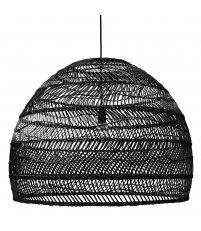 Wisząca lampa wiklinowa HK Living - rozmiar L, czarna