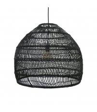 Wisząca lampa wiklinowa HK Living - rozmiar M, czarna