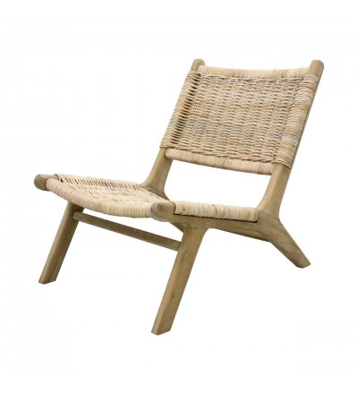 Fotel wiklinowy z drewnianą podstawą HK Living - naturalny