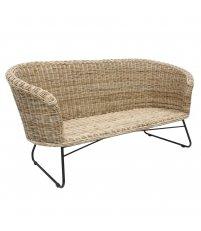 Sofa rattanowa z metalową bazą HK Living - naturalna