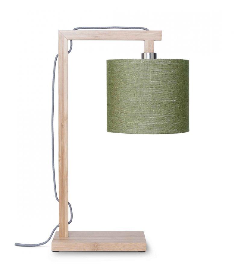 Lampa stołowa Himalaya It's About RoMi - bambusowa podstawa, lniany abażur, oliwkowa
