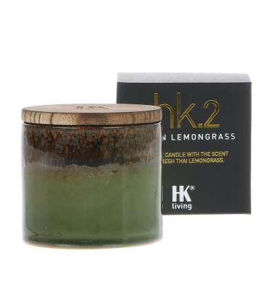 Świeca sojowa w ceramicznym słoju HK Living - o zapachu trawy cytrynowej