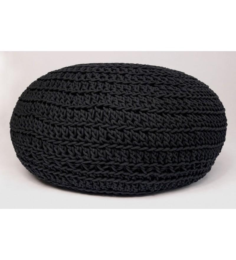 Duży puf pleciony okrągły czarny Motarnia - średnica 70 cm