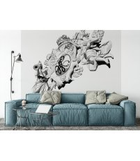 Tapeta / mural BRAMA PORTOWA ONWALL - czarno-biała, 3x3m