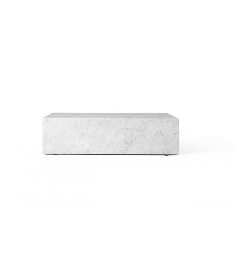 Stolik Plinth niski Menu - biały marmur