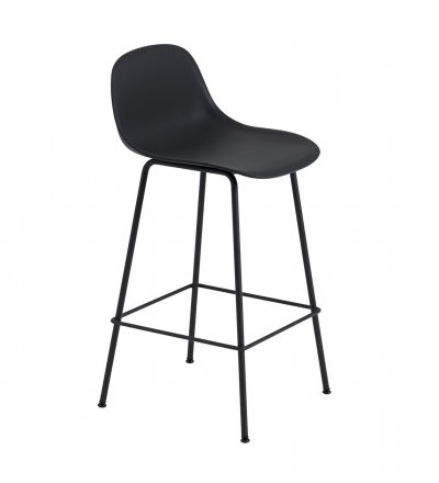 Hoker z oparciem Fiber Bar Stool w. backrest / Tube Base H: 65cm Muuto - różne kolory