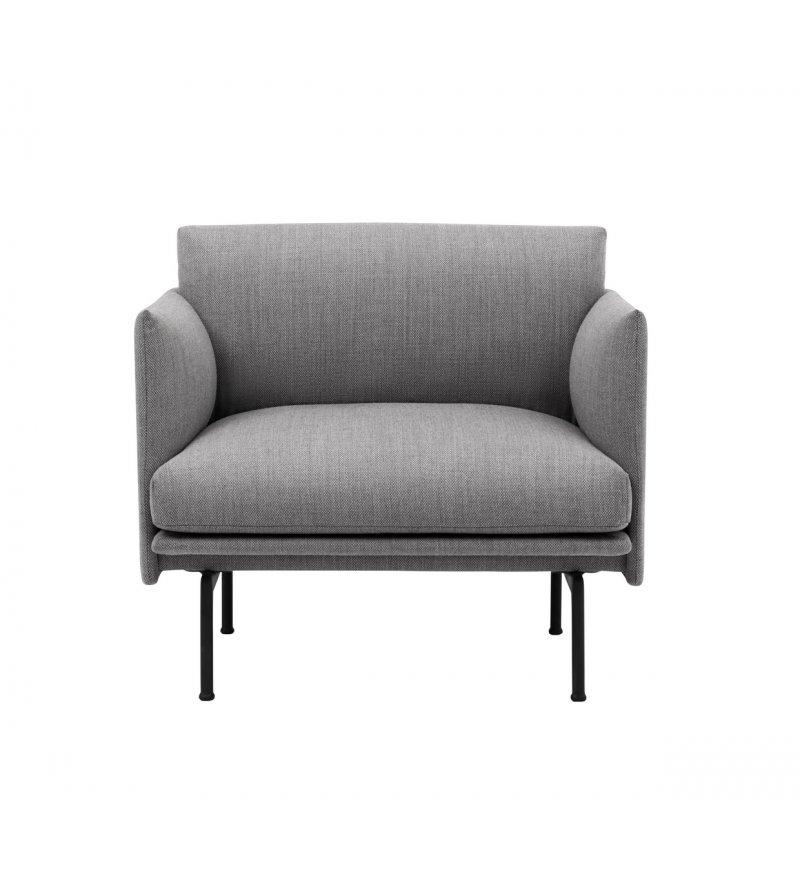 Fotel tapicerowany Studio OUTLINE CHAIR MUUTO - czarna podstawa, różne kolory