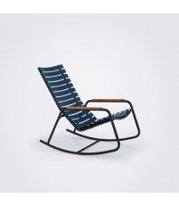 Krzesło bujane CLIPS Rocking Chair HOUE - z bambusowymi podłokietnikami i czarną ramą, różne kolory, na zewnątrz
