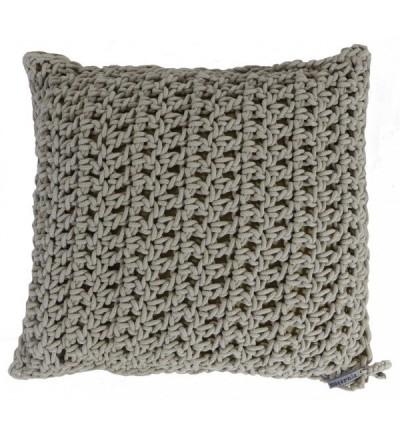 Poduszka dziergana z bawełnianego sznurka Motarnia - beżowa
