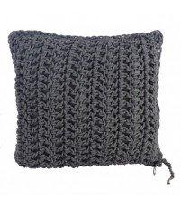 Poduszka dziergana z bawełnianego sznurka Motarnia - szara