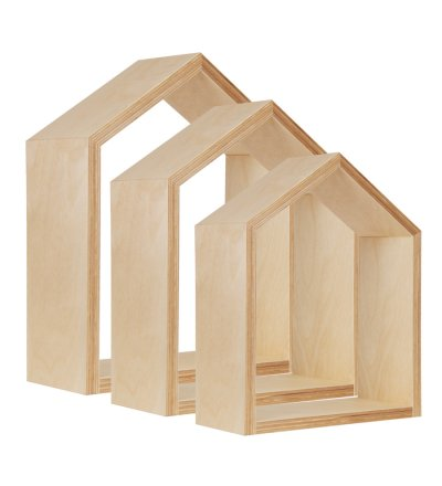 Półki domki Young Deco - zestaw 3 szt., naturalne drewno