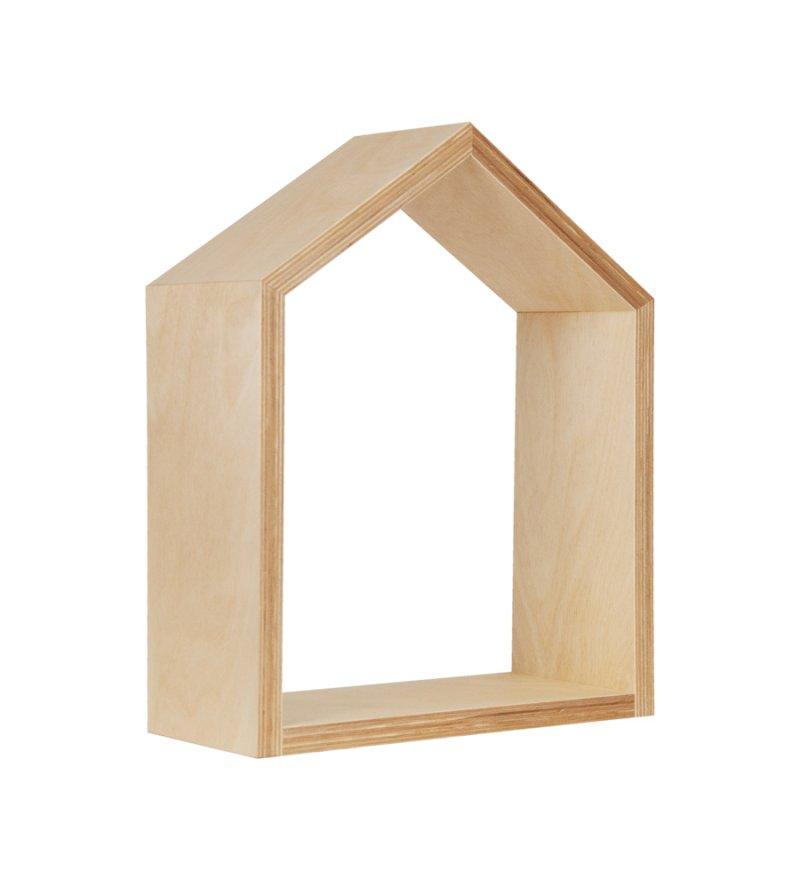 Półka domek Young Deco - mała, naturalne drewno