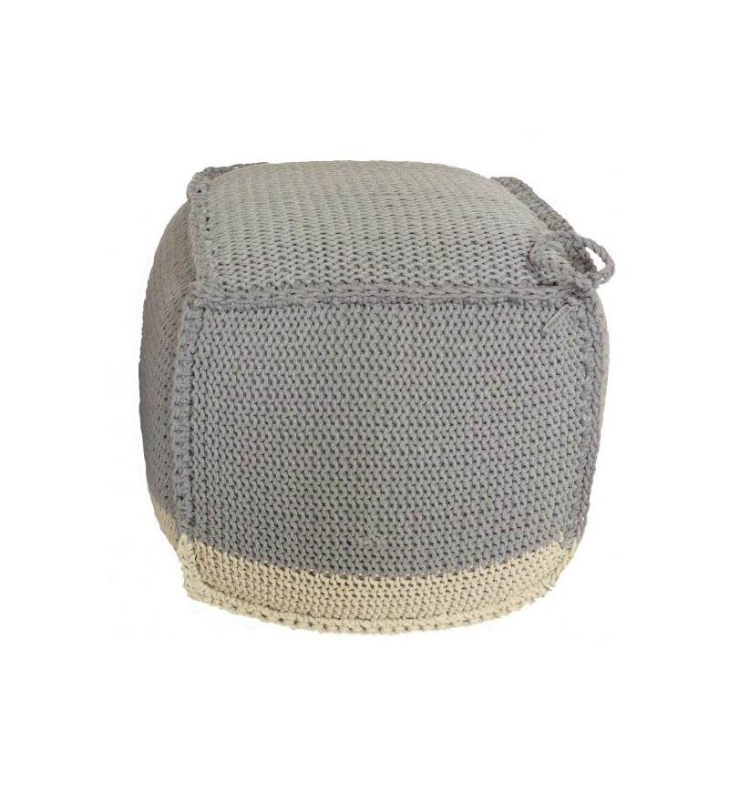 Puf pleciony szaro-beżowy Motarnia - kostka 55 cm