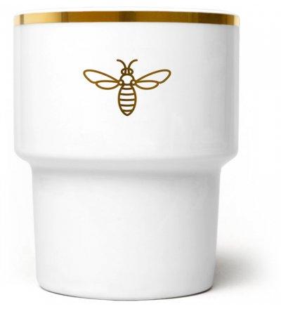 Kubek porcelanowy 'Pszczoła' Mamsam - złoty, edycja limitowana