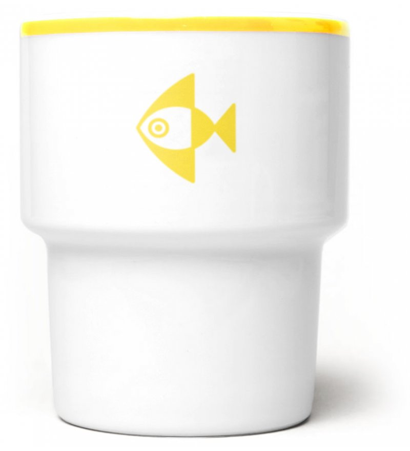 Kubek porcelanowy 'Ryba' Mamsam - żółty, edycja limitowana