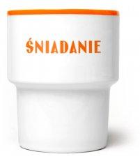 Kubek porcelanowy 'Śniadanie' Mamsam - pomarańczowy, edycja limitowana