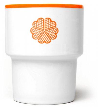 Kubek porcelanowy 'Wafel' Mamsam - pomarańczowy, edycja limitowana